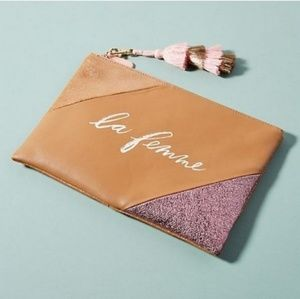 Anthropologie Well-Worded Tassel Pouch